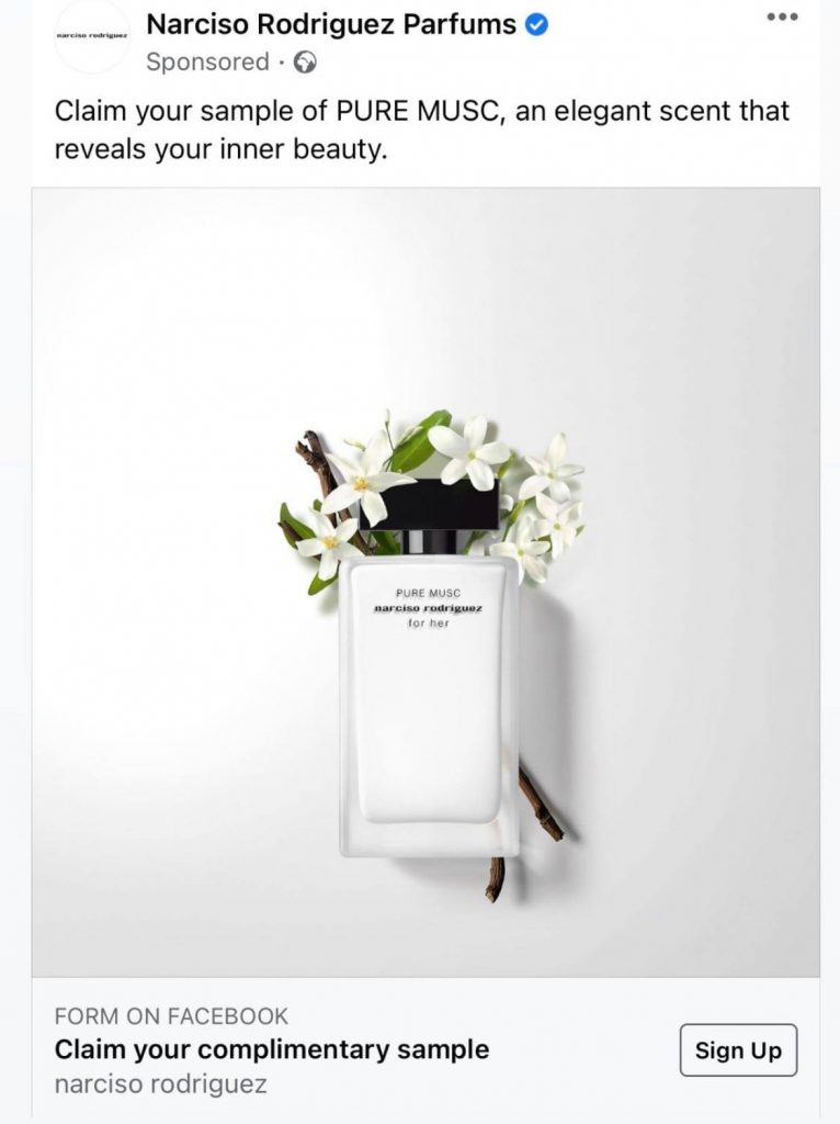 FREE Samples of Narciso Rodriguez Pure Musc Parfum by mail