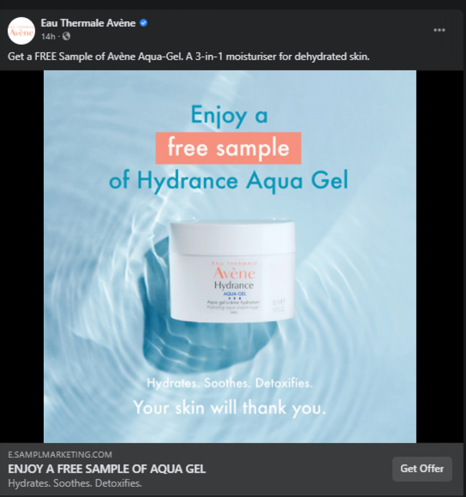 get your free avene aqua gel samples by mail in the uk thru a facebook advert