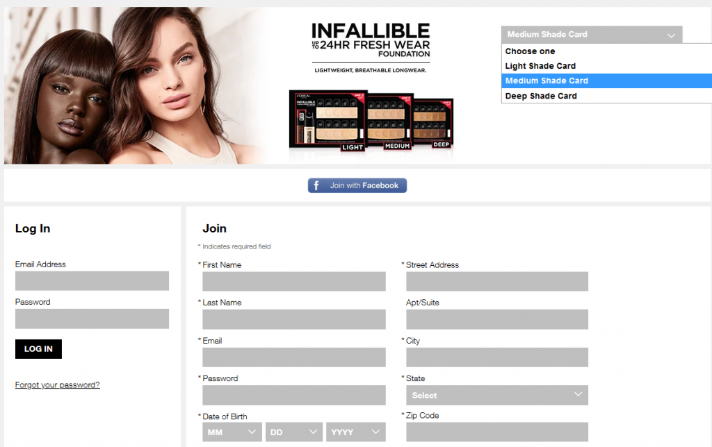 Get free l'oreal Infallible foundation samples by mail