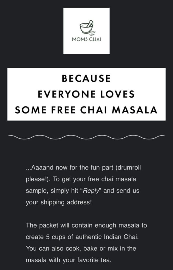 Free Chai Masala Sample from MomsChaiMasala to make Authentic Indian Chai