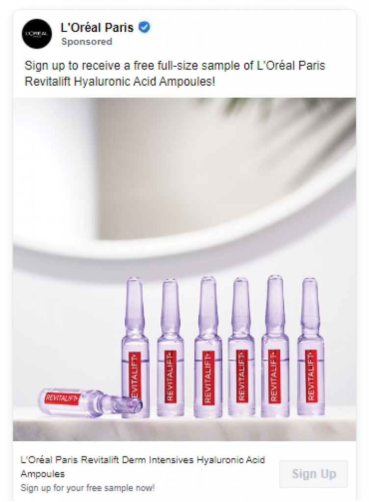 free l'Oreal Revitalift ampoules samples thru an advert on social media