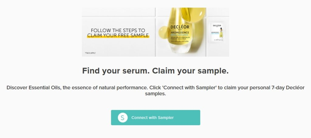 Snag your free Decleor Serum sample with Sampler.io to test gratis