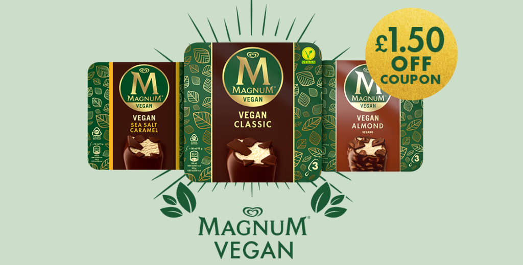 Snag a free Magnum Vegan Ice Cream 3-pack at Sainsburys with a coupon