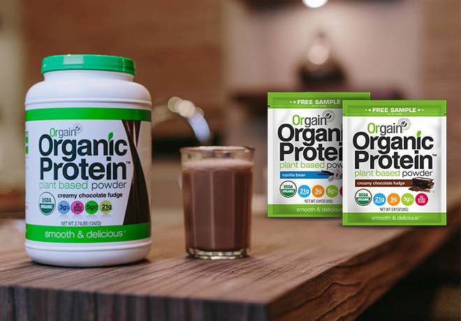 Get free Orgain Protein Powder samples by mail
