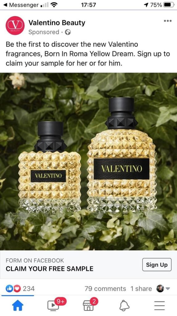 New Valentino Yellow Dream perfume sample advert as seen on Facebook