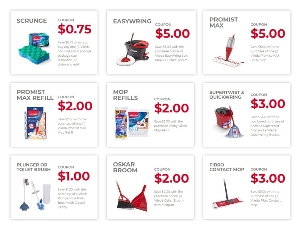 New printable Vileda Coupons Canada to save up on Vileda cleaning products in 2021