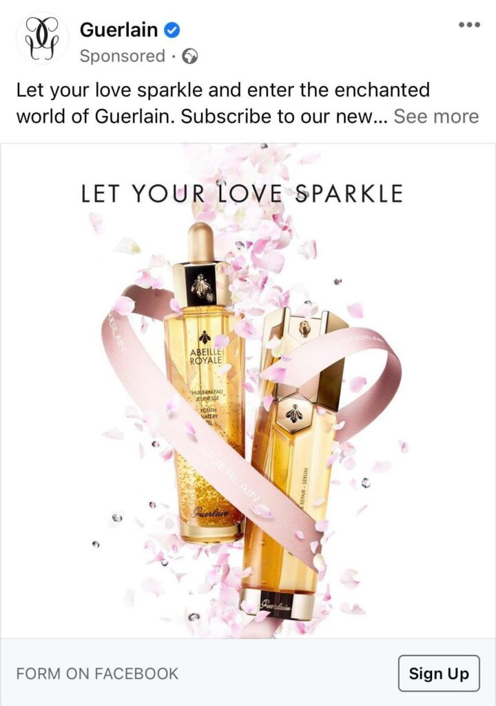 Sampling post on Facebook to get a free Guerlain Abeille Royale Oil sample by mail