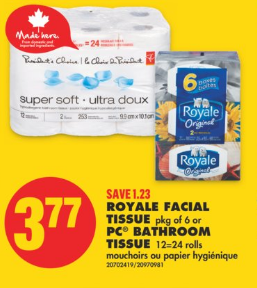 No Frills Ontario Deals with Coupon for Royale Facial Tissues